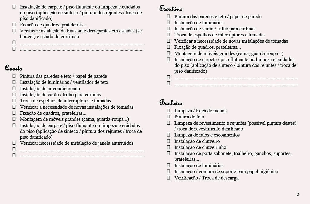 checklist para pequenas reformas do imvel